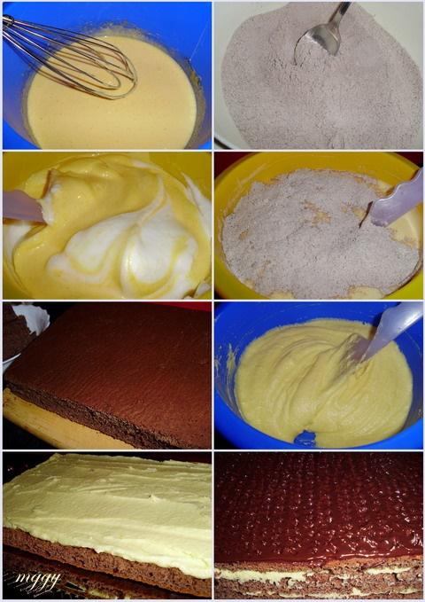 Citromkrémes-kakaós torta készítése képekben