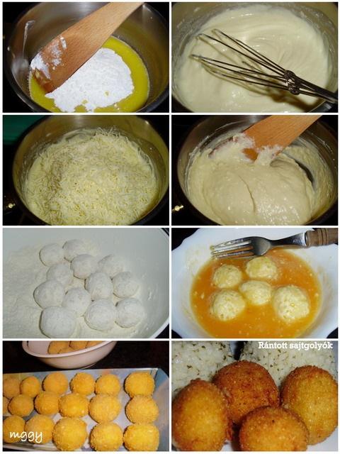 Rántott sajtgolyók készítése képekben.