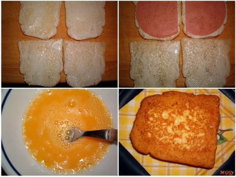Sonkás-sajtos bundás kenyér készítése képekben