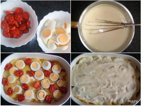 Rakott krumpli sajtmártással készítése képekben