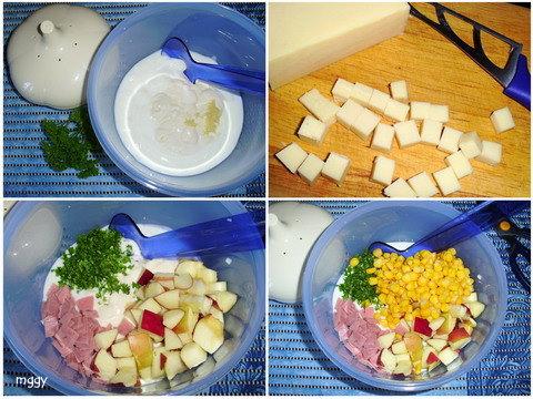 Könnyed joghurtos saláta készítése képekben