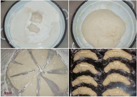 Margarinos sós kifli készítése képekben.