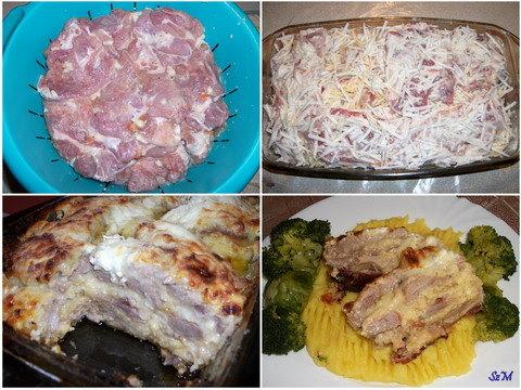 Sajtos rakott hús készítése képekben