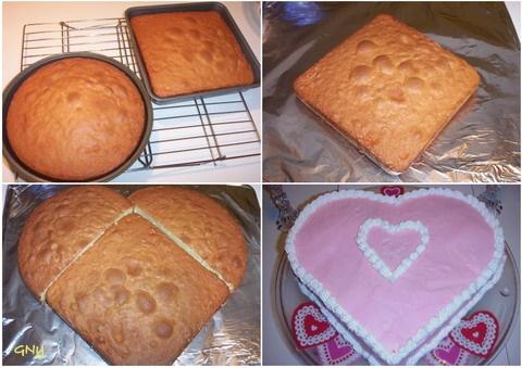 Szív alakú torta készítése - képekben.